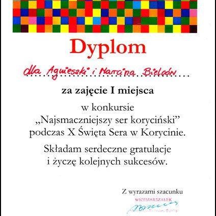 Dyplom_Najsmaczniejszy Ser Koryciński